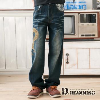 【Dreamming】Dragon日系膠印圖騰伸縮中直筒褲