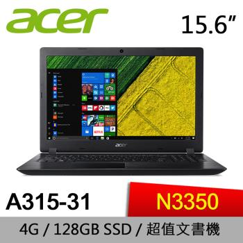 Acer宏碁 Aspire 3 入門文書筆電 A315-31-C0VY 15.6吋/N3350/4G/128GB SSD