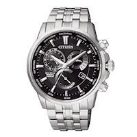 【CITIZEN星辰】 GENT'S 時空的旅人三眼光動能萬年曆時尚腕錶-黑(BL8140-80E)