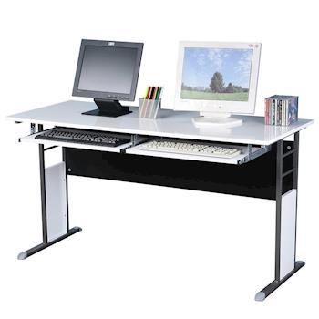 【Homelike】巧思辦公桌 炫灰-白色亮面桌面140cm附2鍵