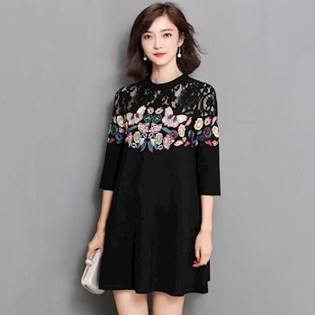 Jisen-蝶舞刺繡蕾絲拼接短洋裝