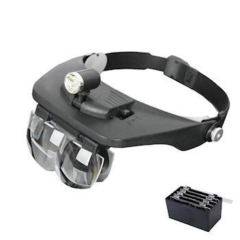 PUSH!創意 可調方向3LED4鏡片頭戴式放大鏡閱讀美容維修多功能放大鏡B01