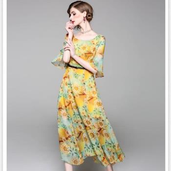 預購-伊凡莎時尚-E1708-0019E浪漫印花洋裝