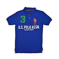 Ralph Lauren 3號馬球經典戰馬短袖POLO衫-寶藍/橘