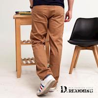 【Dreamming】素面精緻車線伸縮中直筒休閒長褲(卡其)