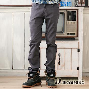 【Dreamming】韓版斜紋布伸縮小直筒長褲(灰色)