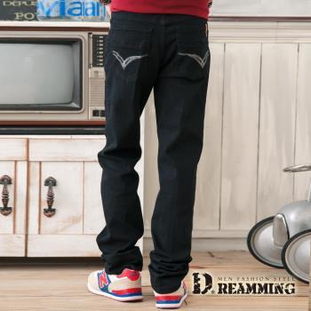【Dreamming】韓版百搭皮標口袋修身休閒長褲(黑色)