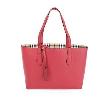 BURBERRY Haymarket格紋皮革雙面double bag二用托特包(小型)(罌粟紅) 4049501