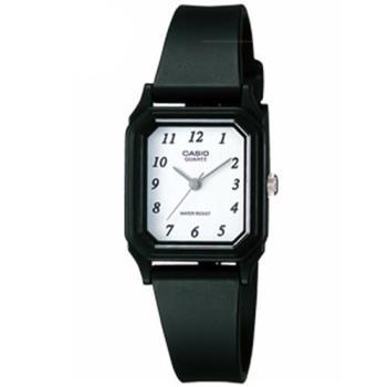 【CASIO】 輕便巧小運動指針錶-白色數字面x黑 (LQ-142-7B)