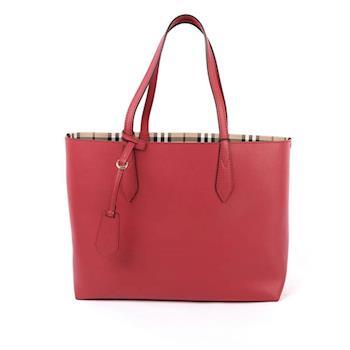 BURBERRY Haymarket格紋皮革雙面double bag二用托特包(中款)(罌粟紅) 4049579