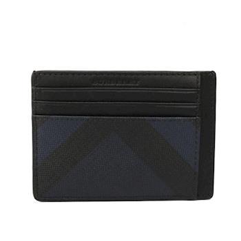 BURBERRY 煙燻格紋PVC皮革卡片夾(海軍藍/黑色) 3998942