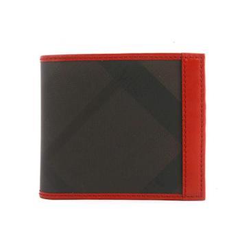 BURBERRY 黑灰格 皮革 二折短夾 滾紅色皮革邊 3880159