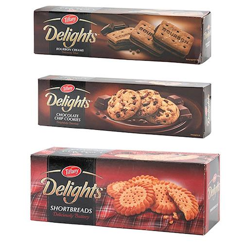 【Tiffany】香濃脆餅200g+巧克力豆餅乾100g+波本巧克力夾心餅200g*各2盒