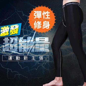 (NEW FORCE) 超彈力透氣速乾壓力緊身運動褲-黑色