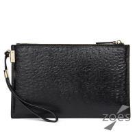 【Zoes】頂級牛皮  鴕鳥紋   拉鍊手拿包