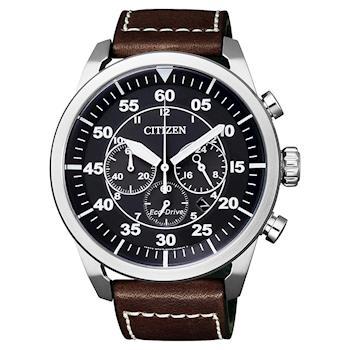 CITIZEN Eco-Drive 領導風範光動能計時手錶 黑x咖啡 CA4210-16E