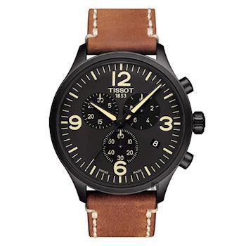 TISSOT天梭 韻馳系列 Chrono XL計時手錶 黑x咖啡 45mm T1166173605700