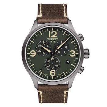 TISSOT天梭 韻馳系列 Chrono XL計時手錶 綠x咖啡 45mm T1166173609700