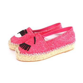 CHIARA FERRAGNI 眼睛草編鉛筆鞋(紅色) CF904