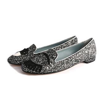 CHIARA FERRAGNI 亮片眨眼睛平底鞋(黑灰色銀邊) CF812