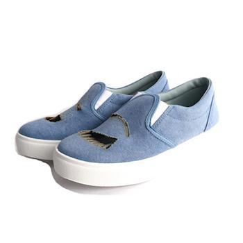 CHIARA FERRAGNI 布面鏤空眨眼睛厚底鞋(牛仔藍) CF868