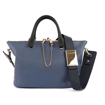 CHLOÉ Baylee Small two-tone tote 小牛皮(街頭藍)(OUTLET) 3S0169 882 B5U