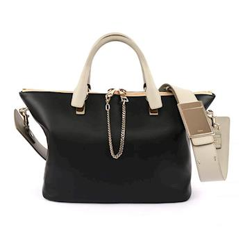 CHLOÉ Baylee Small two-tone tote 小牛皮(黑/灰)(OUTLET) 3S0169 882 09V