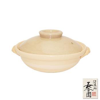 日本長谷園伊賀燒 米色個人小陶鍋