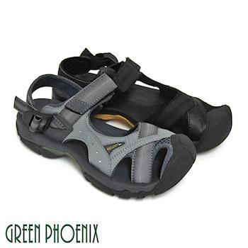 GREEN PHOENIX 男款撞色織帶排水孔洞沾黏式溯溪涼鞋(男鞋)-灰色、黑色