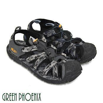 GREEN PHOENIX 男款混色迷彩織帶調整型扣環平底溯溪涼鞋(男鞋)-藍色、灰色