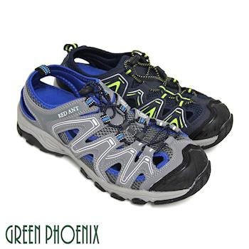 GREEN PHOENIX 男款撞色鏤空調整型扣環排水孔洞溯溪涼鞋(男鞋)-藍色、灰色
