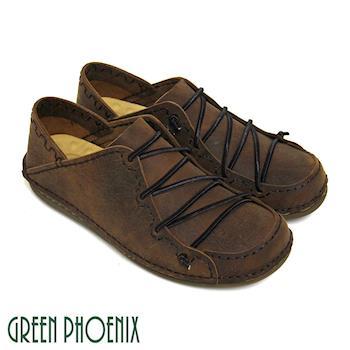 GREEN PHOENIX 彈性鬆緊帶縫線套入式臘感牛皮男休閒鞋(男鞋)-咖啡色