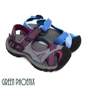 GREEN PHOENIX 女款多彩織帶排水孔洞沾黏式溯溪涼鞋-粉紅色、藍色