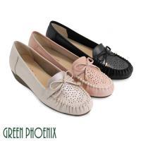 GREEN PHOENIX 蝴蝶結水鑽雷射雕花全真皮莫卡辛小坡跟包鞋U33-2A205