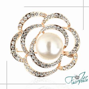 伊飾童話 玫瑰之眼 珍珠鏤空水鑽胸針 二色可選