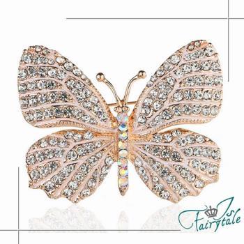 伊飾童話 蝴蝶滿鑽 玫瑰金水鑽胸針