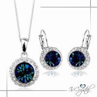 伊飾晶漾iSCrystal 夜之眼 藍水晶圈式耳環 項鍊組