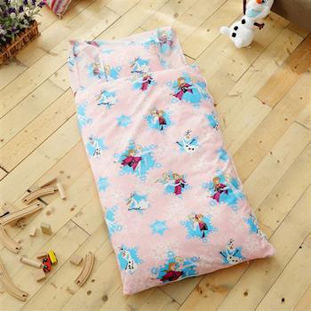 HO KANG 迪士尼授權 雪紡棉冬夏鋪棉兩用兒童睡袋-冰雪粉