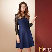 MONS名媛款低調奢華蕾絲羊毛洋裝