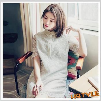連身裙 翻領蕾絲不規則五分袖洋裝GJ6713-創翊韓都