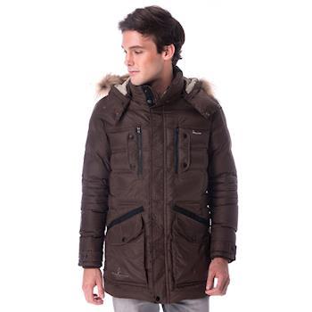 【hilltop山頂鳥】男款超撥水保暖蓄熱羽絨長大衣F21M50咖啡