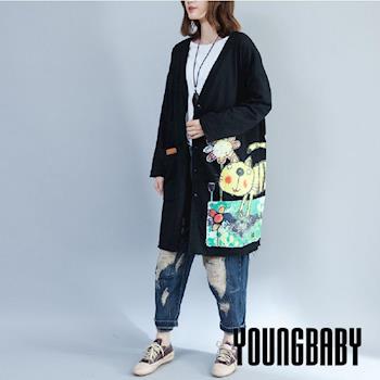 【YOUNGBABY中大碼】深V花園貓咪長袖外套.共3色