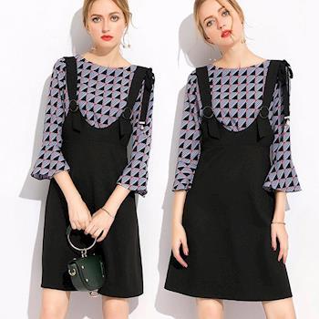 麗質達人中大碼 - SD6806印花上衣+吊帶裙 XL-5XL