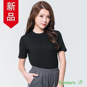 bossini女裝-羅紋圓領短袖上衣01黑