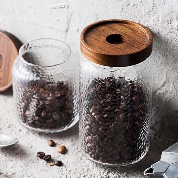 Homely Zakka 圓孔木蓋錘紋玻璃儲物罐密封罐 800ml