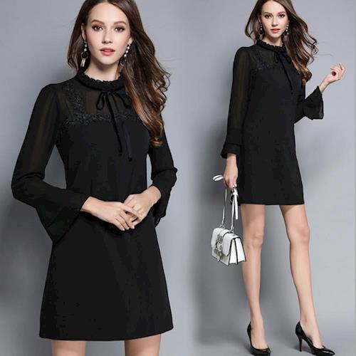 【KVOLL中大尺碼】黑色顯瘦花邊領荷葉袖連衣裙M~5XL
