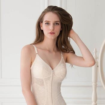 【華歌爾】年度熱銷款A90-B95罩杯 緹花彈性全身塑身衣(經典膚)