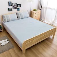 Ally 單人兩件式灰藍條紋水洗棉床包組
