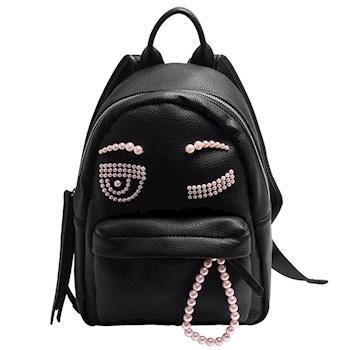 CHIARA FERRAGNI ZAINO系列粉紅珍珠眨眼造型雙拉鍊手提/後背包(小-黑)