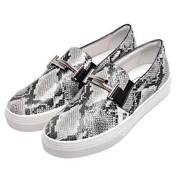 TODS 經典Double T銀色金屬LOGO蟒蛇紋牛皮厚底樂福鞋